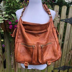 Sorial Cognac Genuine Leather Hobo Bag